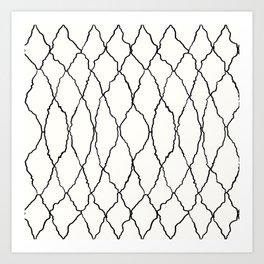 Moroccan Diamond Weave in Black and White Art Print