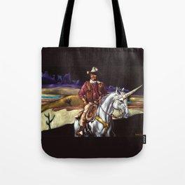 Black Velvet John Wayne Riding a Unicorn Tote Bag