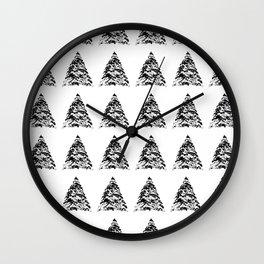 Watercolor ink pine tree Wall Clock