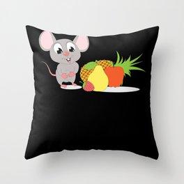 Cute Cartoon Fruit Mouse Animal Design Throw Pillow