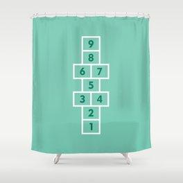 Hopscotch Mint Shower Curtain