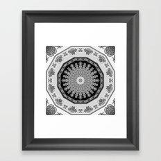 Shades of Grey - Geometric Floral Pattern Framed Art Print