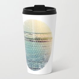 Geometric circle design with atmospheric ocean–Raumati beach–New Zealand 2015 Travel Mug