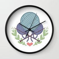 knitting Wall Clocks featuring Knitting by boots