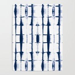 Shibori Stripes 4 Indigo Blue Poster