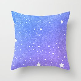 Stars In Space, Vivid Blue & Violet Night Sky Vector Pattern Throw Pillow