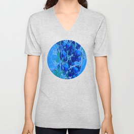 Yucca Flowers in Blues Unisex V-Neck
