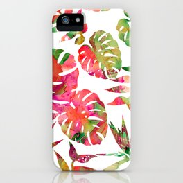 MONSTERA FLORAL - WHITE iPhone Case