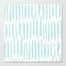 Vertical Dash Stripes Succulent Blue and White Canvas Print