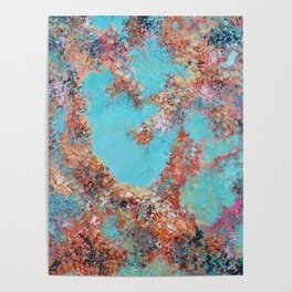 Oneness, Turquoise and Teal Abstract Poster