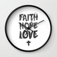 pocketfuel Wall Clocks featuring Faith Hope Love by Pocket Fuel