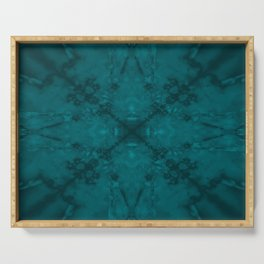 Green star kaleidoscope pattern Serving Tray