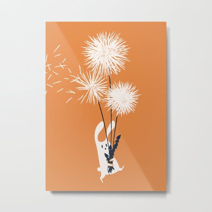 Bunny and Dandelion Bouquet Metal Print