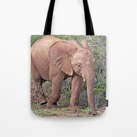 baby elephant Tote Bags featuring Baby Elephant by Lynn Bolt