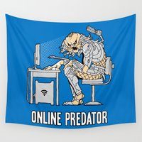 predator Wall Tapestries featuring Online Predator by Tom Burns