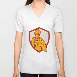 Construction Worker Thumbs Up Shield Retro Unisex V-Neck