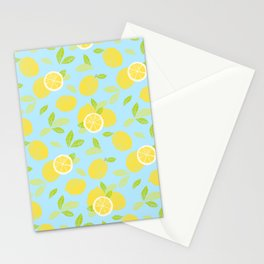 Bright And Sunny And Stamped Lemon Citrus Pattern Stationery Cards