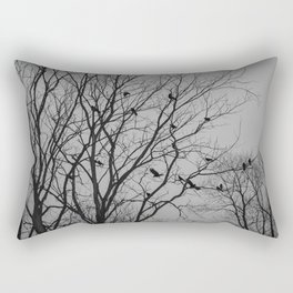 Roosting birds on silhouette tree Rectangular Pillow