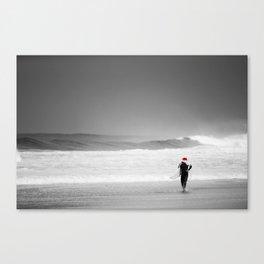 surf santa - shore walk Canvas Print
