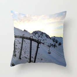 Early morning waiting for skiers Throw Pillow
