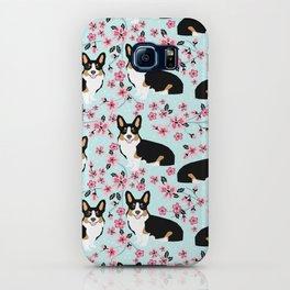 Welsh corgi tricolored cherry blossoms botanical florals japanese flowers dog breed corgis iPhone Case