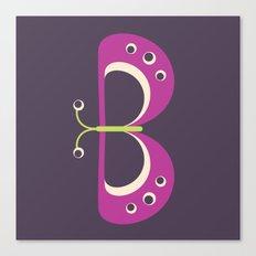 Letter B // Animal Alphabet // Butterfly Canvas Print