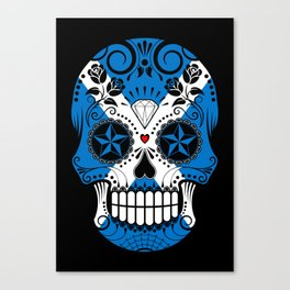 Sugar Skull with Roses and Flag of Scotland Canvas Print
