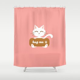 Hug Me Nyanko Shower Curtain