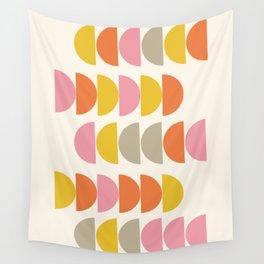 Cute Geometric Shapes Pattern in Pink Orange and Yellow Wall Tapestry