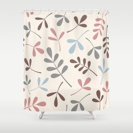 Assorted Leaf Silhouettes Pastel Colors Shower Curtain