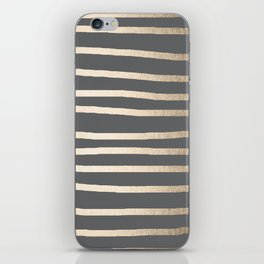 Simply Drawn Stripes White Gold Sands on Storm Gray iPhone Skin