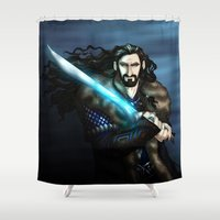 thorin Shower Curtains featuring Thorin in Blue by wolfanita