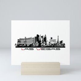 Las Vegas skyline black Mini Art Print