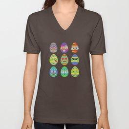 Emoji Easter Eggs Colorful Emoticon Pascha Holiday Unisex V-Neck
