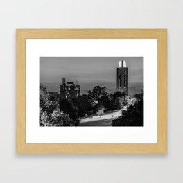 KU Campanile and The Oread Hotel - Lawrence Kansas Monochrome Framed Art Print