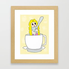 Biondina at coffee time Framed Art Print