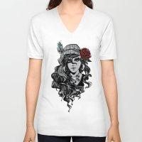 gypsy V-neck T-shirts featuring gypsy by Erdogan Ulker