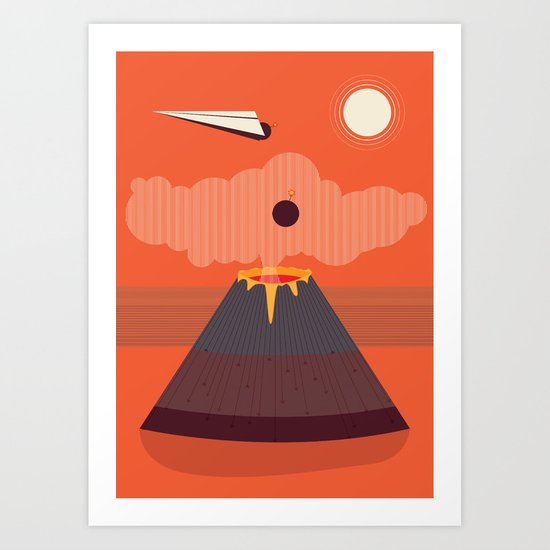 Bombing Volcano Art Print