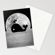Whale Night Swim - Black and White Stationery Cards