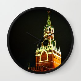 Spassky - Savior - Tower Of Moscow Kremlin At Night Wall Clock