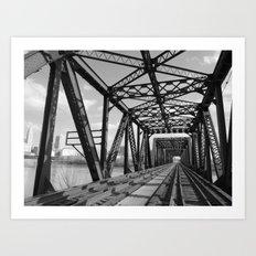 Train Bridge 3 - B&W Art Print