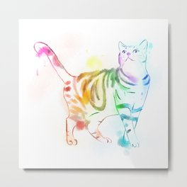 Rainbow Painted Cat Metal Print