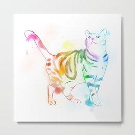 Rainbow Painted Cat Metal Print