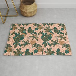 Linocut roses and lilies Rug
