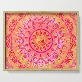 Sun Kissed Mandala Orange Pink Serving Tray