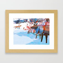 Reindeers and friends Framed Art Print