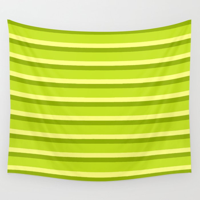 Lime Green Stripes Wall Tapestry
