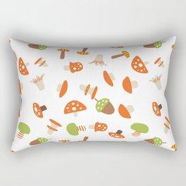 Artistic hand painted orange green autumn mushroom pattern Rectangular Pillow