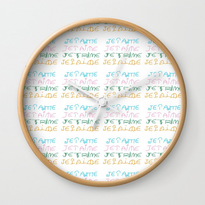 je t'aime 3-I love you,love,girl,romantic,romantism,  women,heart,sweet,French,France  Wall Clock by oldking