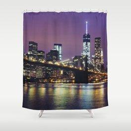 Manhattan Skyline over the Brooklyn Bridge at Night Shower Curtain
